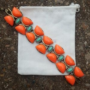 J. Crew Orange Chunky Latch Bracelet with Bag